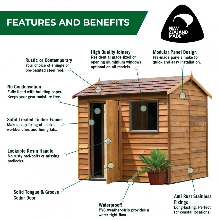 Cedar Garden Shed Features