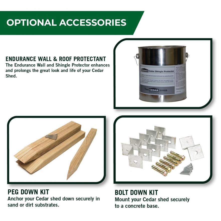 Cedar garden shed optional accessories