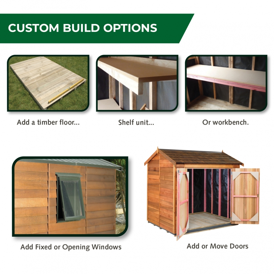 Cedar garden shed custom options