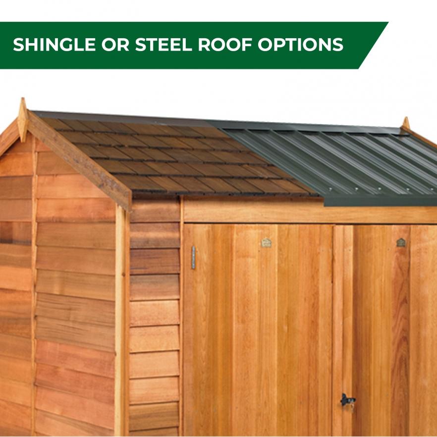 Cedar garden shed roof options
