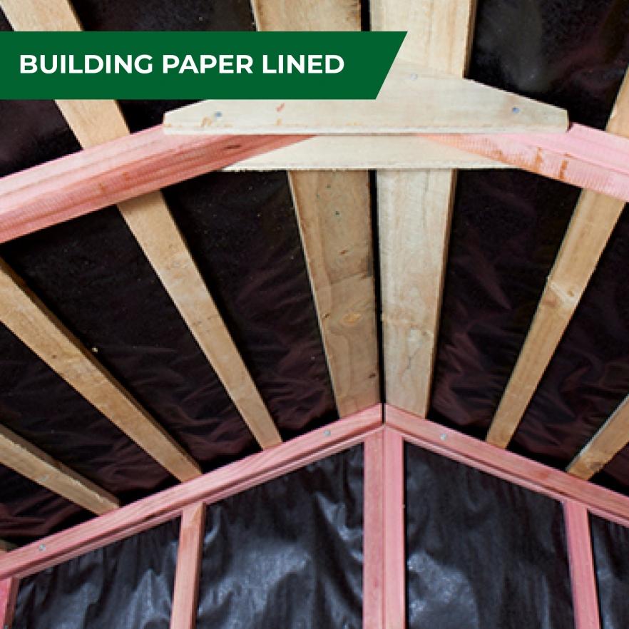 Cedar garden shed building paper