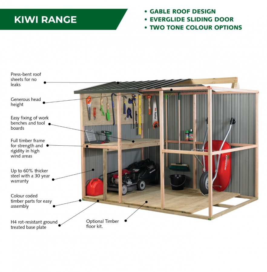 Kiwi garden shed features