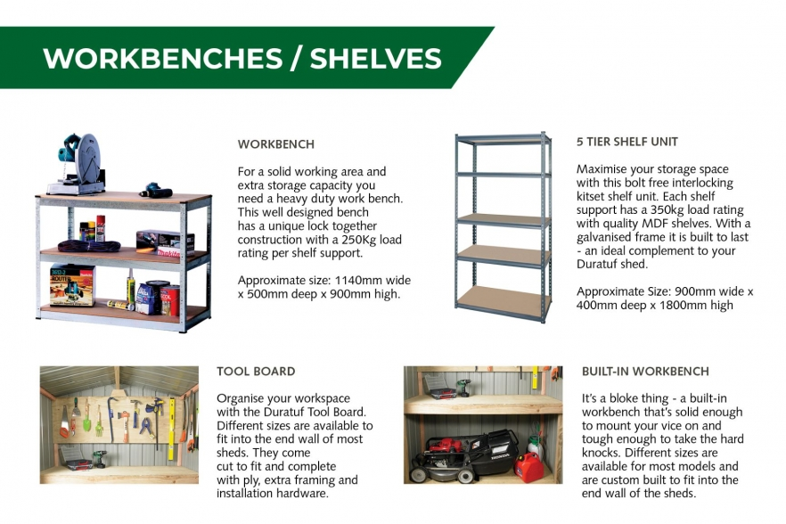 Fortress garden shed workbenches