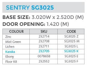 sg3025 shed specs